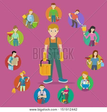 Cleaning service. Set of avatar userpics of male and female members of cleaning service staff with equipment. Workers of cleaning company. Housekeeping banner. Office and hotel cleaning. Vector