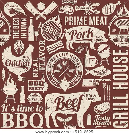 Retro styled typographic vector barbecue seamless pattern or background. BBQ meat vegetables beer wine and equipment icons for cafe bar and restaurant menu branding and identity