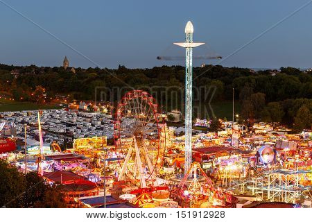 NOTTINGHAM ENGLAND - OCTOBER 5: The annual Goose Fair carnival on the Forest Recreation Ground from a high viewpoint. In Nottingham England. On 5th October 2016.