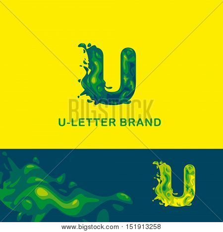 Template trade brand U  company. Corporate style for the letter U: logo, background. Creative logo, liquid letter U