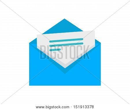 Letter vector icon in flat style. Blue envelope with sticking sheet of paper with text. For SMS and email services, postal services app icons, logo and web design. Isolated on white background