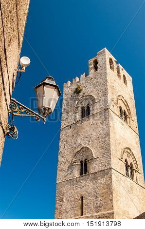 View of the Bell Tower for the Cathedral of Erice in Sicily Italy. One of the main attractions of Erice.