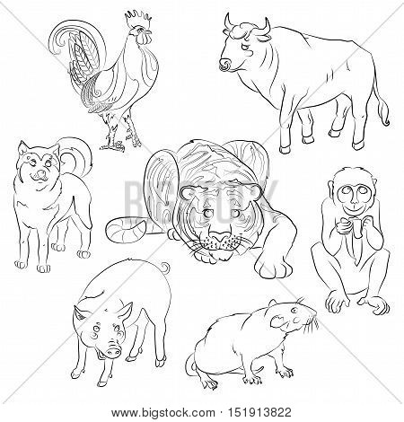 Seven Chinese calendar animals rooster dog pig rat monkey tiger and ox. For your convenience each significant element is in a separate layer. eps10