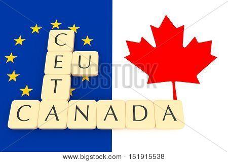 Letter Tiles: CETA EU Canada With Canadian And EU Flag 3d illustration