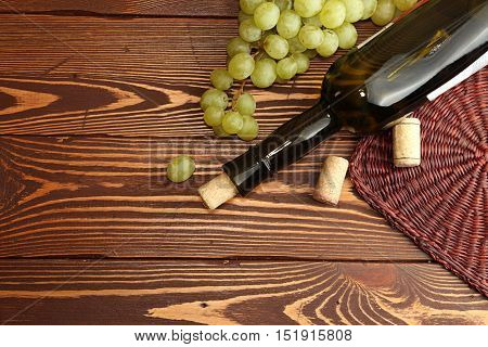 Grape Green Bunch With Wine Bottle