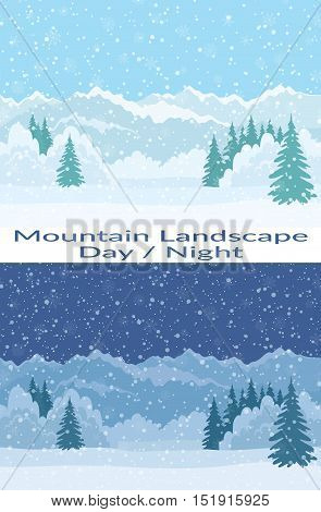 Set of Seamless Horizontal Backgrounds, Christmas Holiday Landscapes with Night and Day Snowy Sky, Fir Trees, Snowdrifts and Far Mountains in the Distance. Eps10, Contains Transparencies. Vector