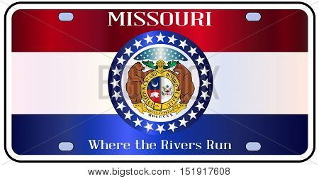 Missouri state license plate in the colors of the state flag with the flag icons over a white background