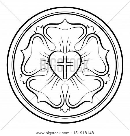 Luther rose monochrome calligraphic illustration. Also Luther seal, symbol of Lutheranism. Expression of theology and faith of Martin Luther, consisting of a cross, an heart, a single rose and a ring.