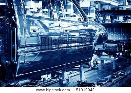 Pickup truck production workshop, spare parts production lines.