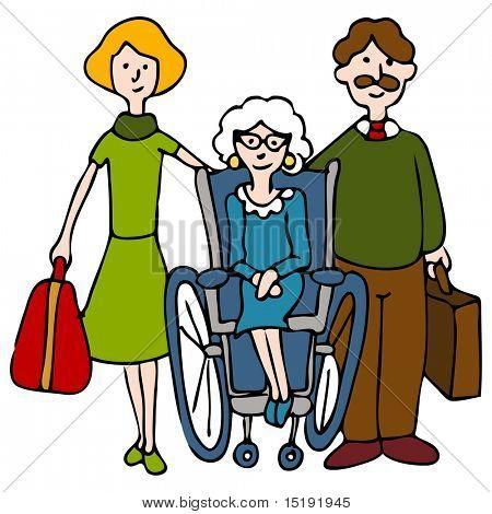 Ein Bild einer Familie, die ältere Frau in ein Pflegeheim zu verschieben.