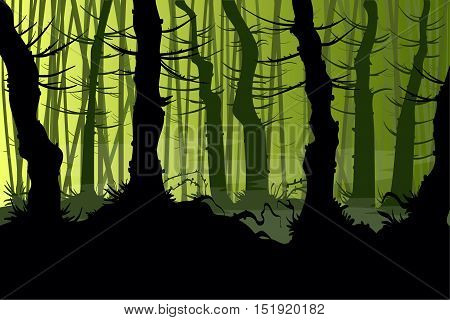 Vector illustration of a creepy night forest with mist
