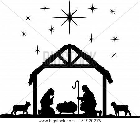 Traditional Christian Christmas Nativity Scene of baby Jesus in the manger with Mary and Joseph.