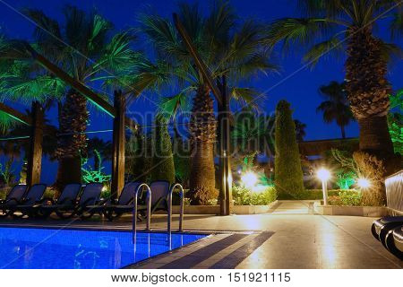 Luxury beach resort at night in Antalya