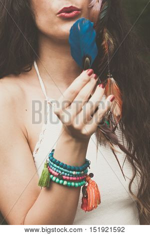 young woman in boho style closeup