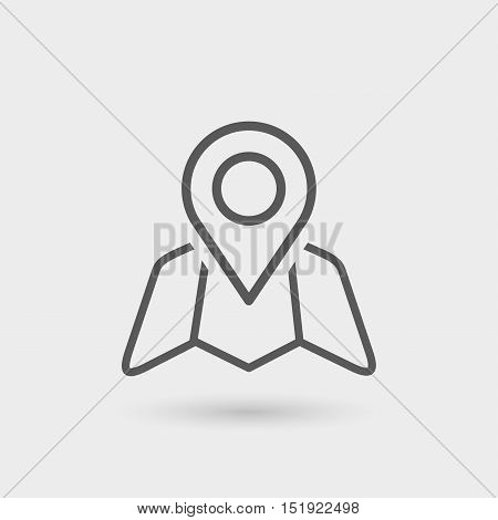 location map and pointer icon thin line icon black color with shadow