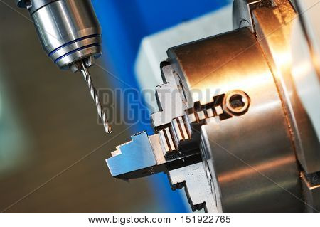 metalworking drilling process on cnc machine
