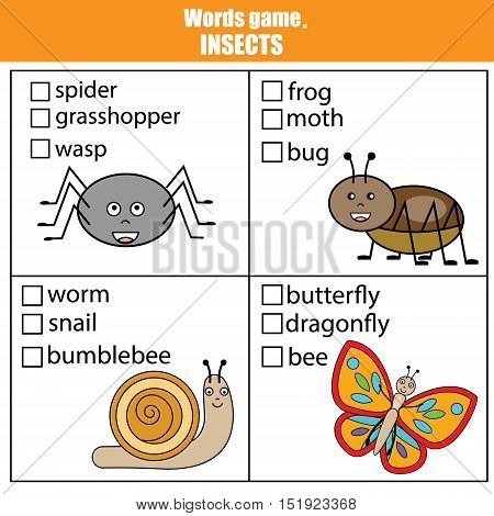 Words test educational game for children. Animals insects theme, learning vocabulary. Choose the correct answer task