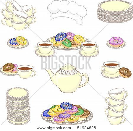 Set of color culinary pictures with donuts. Cups, plates, donuts, teapot, cook cap.  Vector illustration.