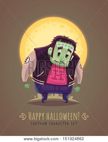 Spooky mutant. Halloween cartoon character concept. Vector illustration.