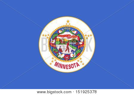 Minnesotan official flag symbol. American patriotic element. USA banner. United States of America background. Flag of the US state of Minnesota in correct size and colors illustration