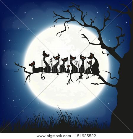 Halloween background. 9 scary vampire cats with fangs sitting on a branch on a full moon background. Vector illustration.