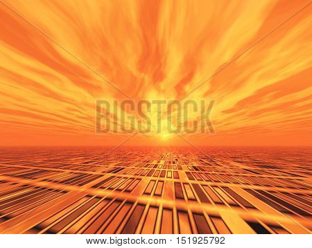 A background with grid ground horizon and a surreal red wavy sky 3D rendering.