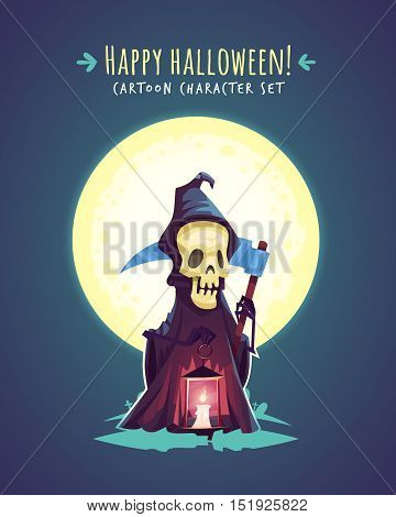 Funny Halloween Death with scythe. Vector character illustration
