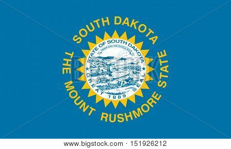 South Dakotan official flag symbol. American patriotic element. USA banner. United States of America background. Flag of the US state of South Dakota in correct size and colors illustration
