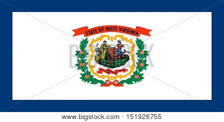 West Virginian official flag symbol. American patriotic element. USA banner. United States of America background. Flag of the US state of West Virginia in correct size and colors illustration