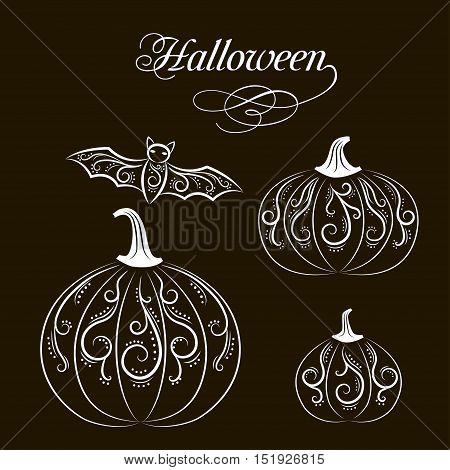 Postcard set of black and white glamor pumpkin with abstract patterns and bat for Halloween or party, stickers vector illustration