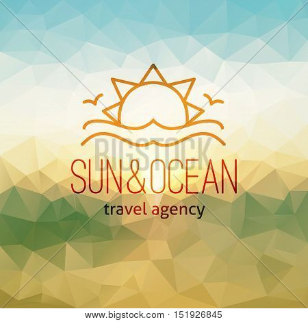 travel agency logo on polygon seascape background, sun and waves