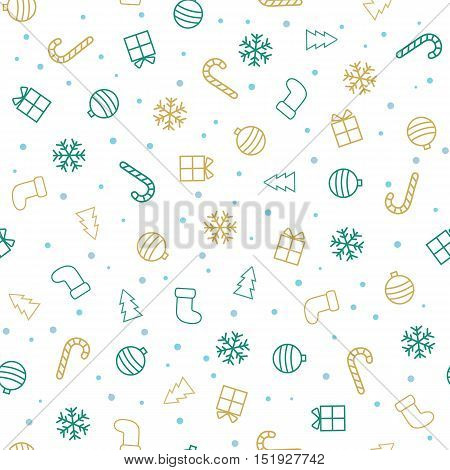 Christmas background. Flat christmas seamless pattern with stockings, trees, baubles, gifts, candycanes and snowflakes. Vector illustration