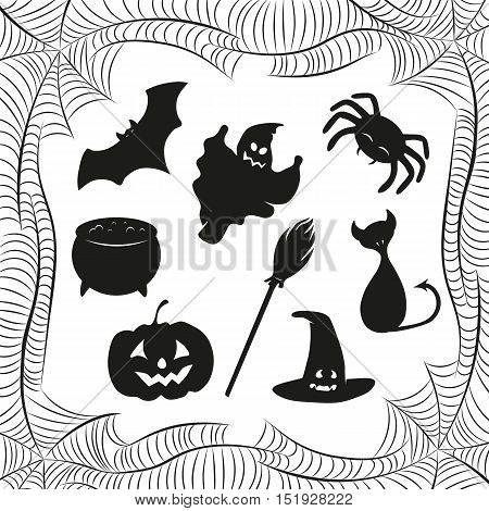 Set of silhouettes halloween characters and spiderweb frame. Cat, bat, pumpkin, spider, pot, hat, broom, ghost.  Vector illustration.