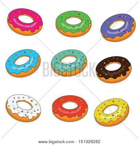 Sweet bakery. Isolated donuts set with colorful glaze vector illustration. Design elements, stickers, in hand drawn style for bakery, menu, cafe, shops