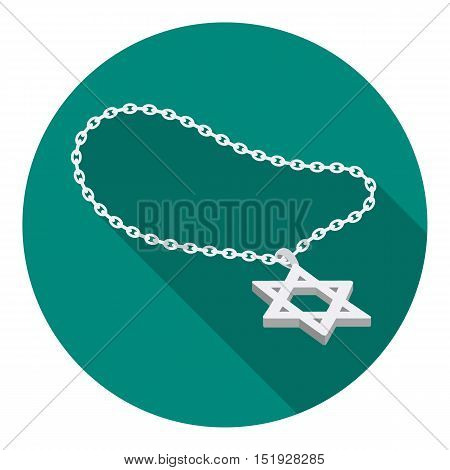 Star of David icon in flat style isolated on white background. Religion symbol vector illustration.