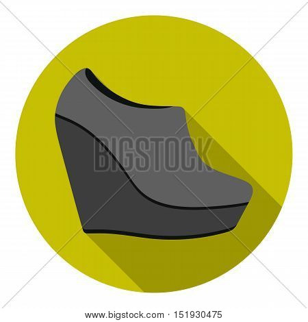 Wedge booties icon in flat style isolated on white background. Shoes symbol vector illustration.