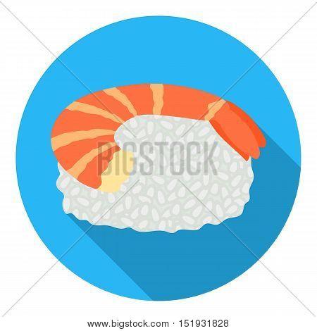 Ebi Nigiri icon in flat style isolated on white background. Sushi symbol vector illustration.