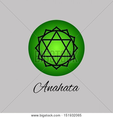 Anahata.Heart chakra. Fourth Chakra symbol of human. Vector illustration. Element human energy system. Yogameditationreiki and buddhism color simbol. poster