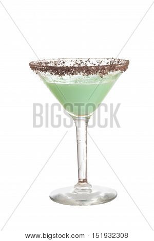 isolated chocolate grasshopper cocktail on a white background