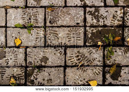 Pavement, stone pavement texture, sidewalk, pavement top view, closeup, footprints on the road, grunge background, square tiles