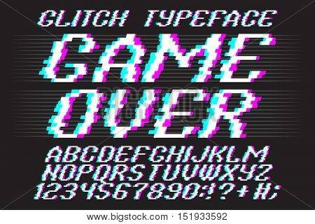 Glitch typeface Game Over. Glitched font and numbers set.