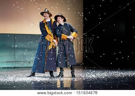 MOSCOW, RUSSIA - JAN 15, 2015: Actors G.Starostin and A.Kondakov as Captains Marzheret and Walther Rozen on stage of Moscow theatre Et Cetera in play Boris Godunov directed by Peter Stein.