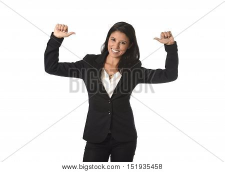 corporate portrait of young attractive latin businesswoman wearing office formal suit smiling happy and confident giving thumb up isolated on white background in business success concept