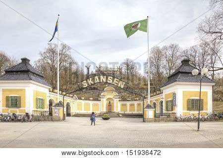 STOCKHOLM SWEDEN - May 04.2013: Entrance to the ethnographic complex the open air museum Skansen located on Djurgarden Island in Stockholm