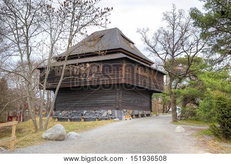 STOCKHOLM SWEDEN - May 04.2013: Ethnographic complex the open air museum Skansen located on Djurgarden Island in Stockholm. Rural house