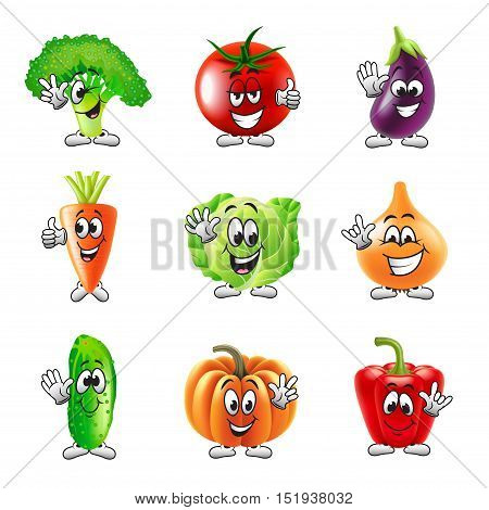 Funny cartoon vegetables icons detailed realistic vector set