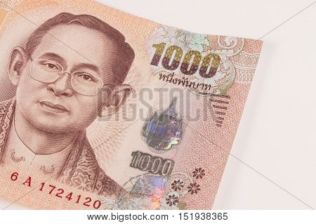 Close Up Of Thai Banknote, Thai Bath With The Image Of Thai King. Thai Banknote Of 1000 Thai Baht. T