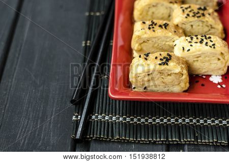 Japanese egg omelet tamago-yaki for morning breakfast