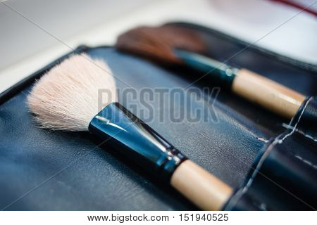 Make-up artist brush set in leather case.