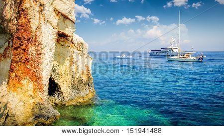 Blue caves on Zakynthos island, Greece. Famous blue caves view on Zante